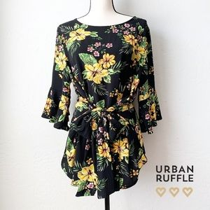 NEW Curvy Fit Floral Tie Front Top